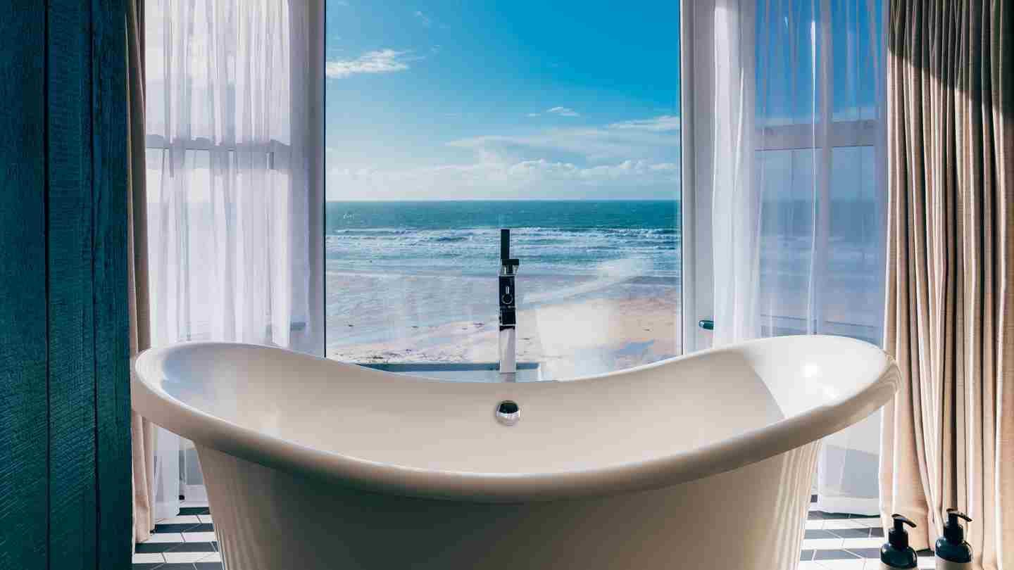Watergate Bay Sea View Suite Room21 Roll Top Bath