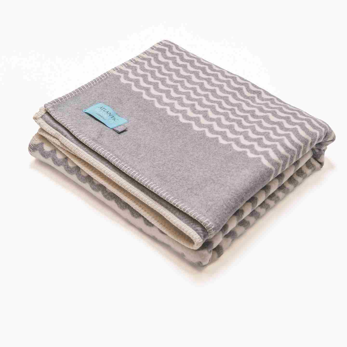 Grey Swell Brushed Cotton Blanket King Size