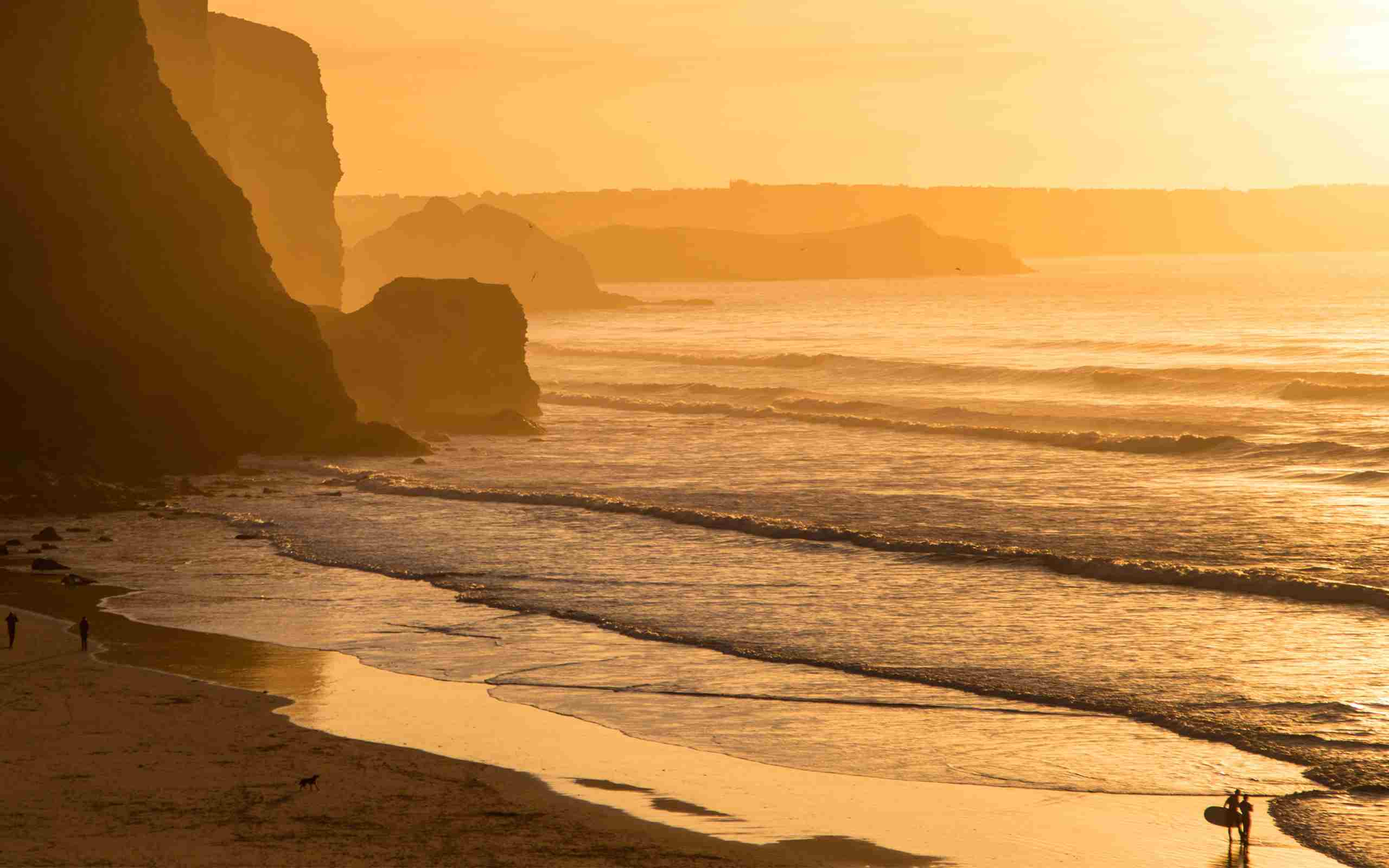 Watergate Bay Beach Winter Surfing Sunset