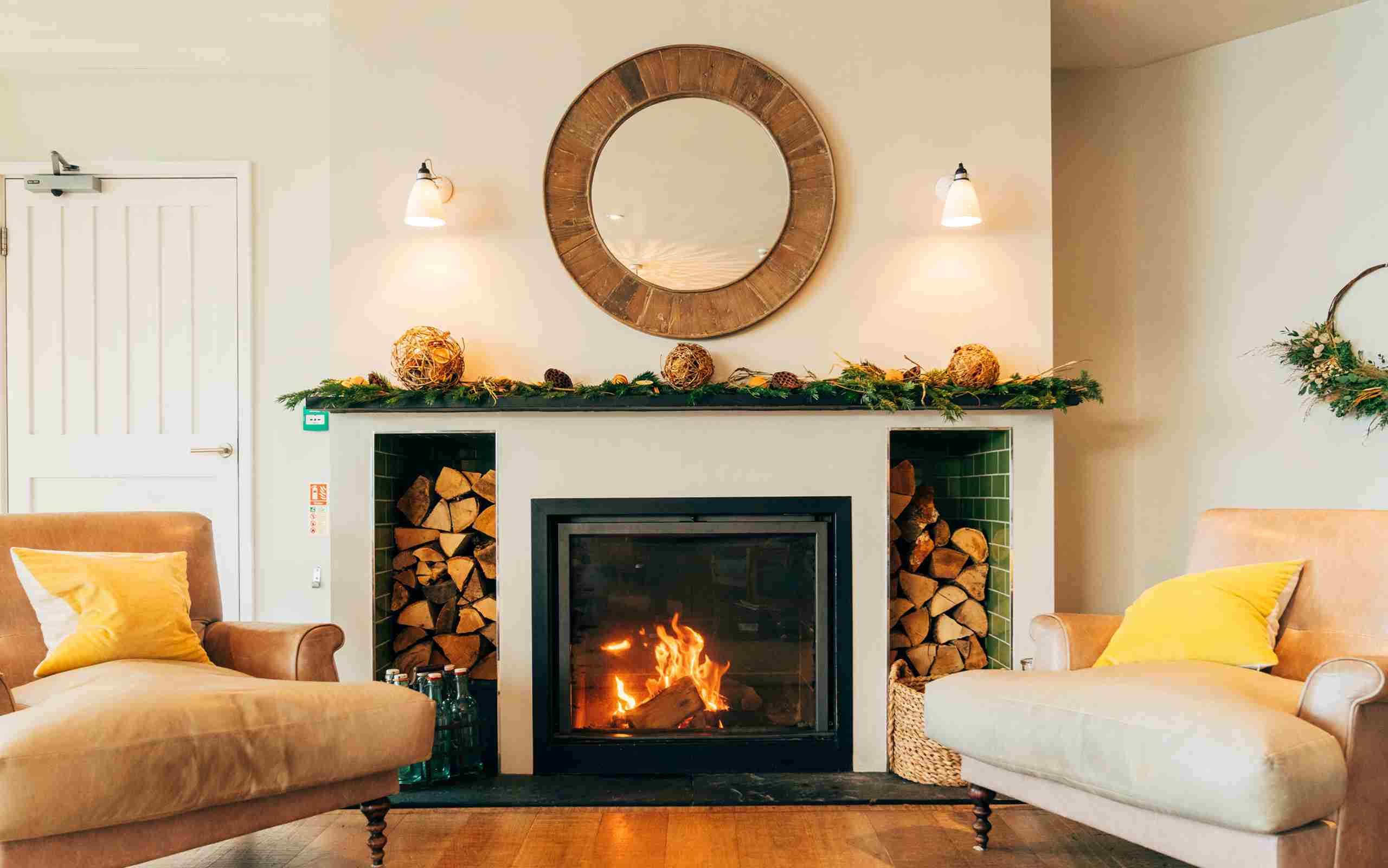 Ocean Room Fireplace Winter