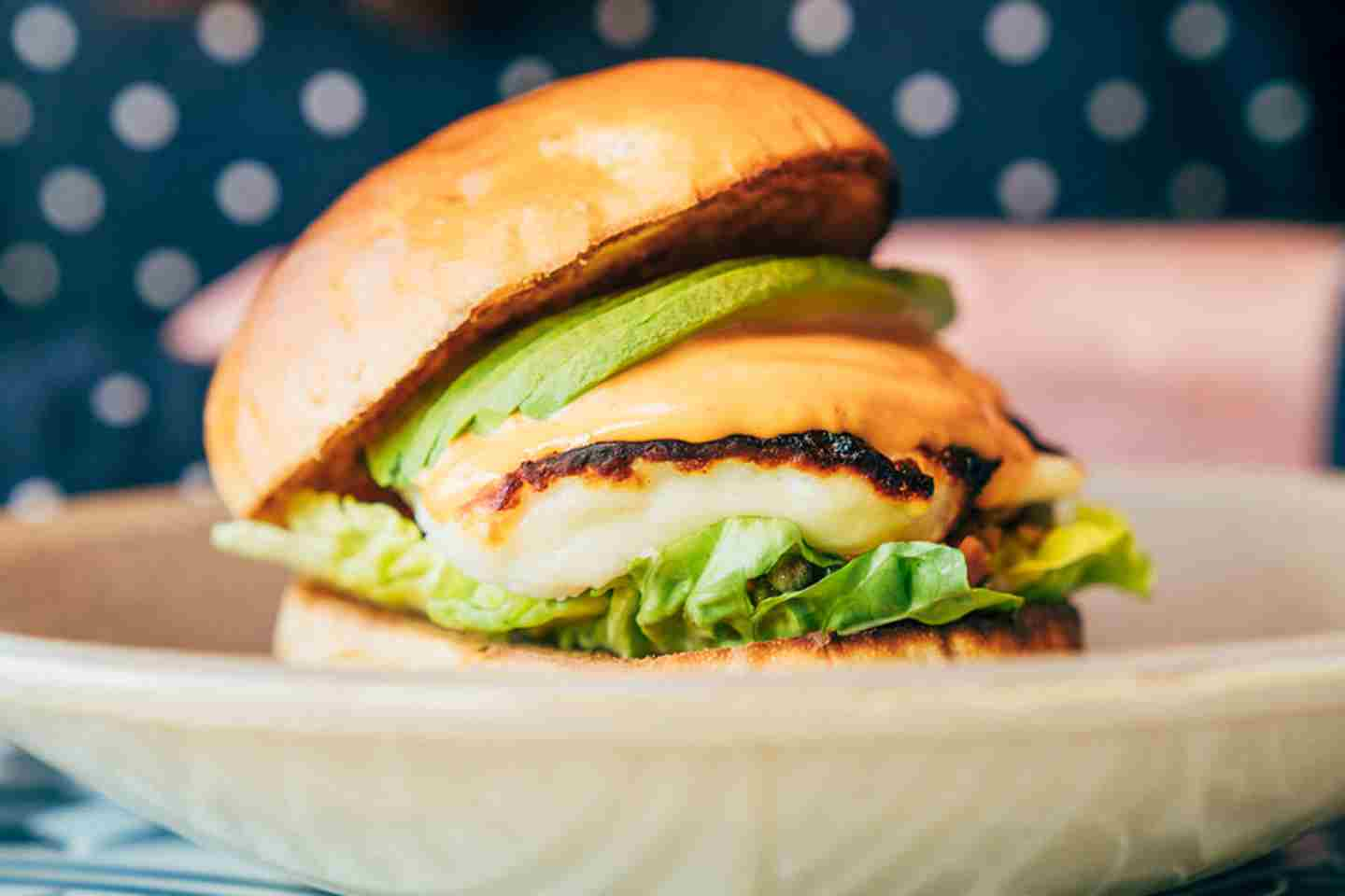Haloumi Burger – Grilled Halloumi Tomato Gem Lettuce Sunblushed Tomato Green Olives And Capers